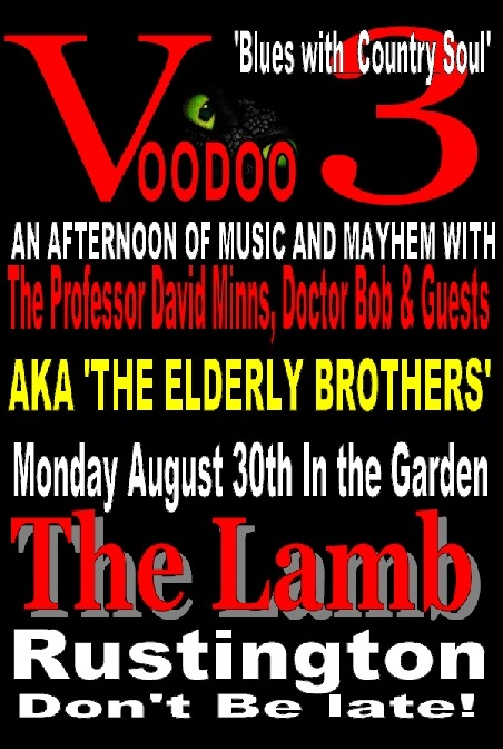 BANK HOLIDAY HAVOC IN THE GARDEN AT THE LAMB WITH 'THE VOODOO 3'